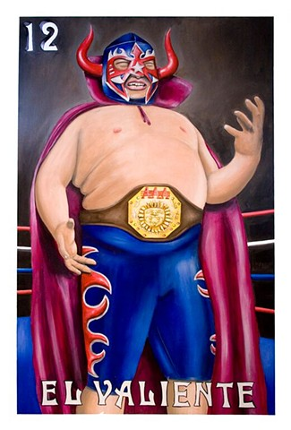 acrylic painting on wood of a luchador done for the loteria mural in Corpus Christi, Texas