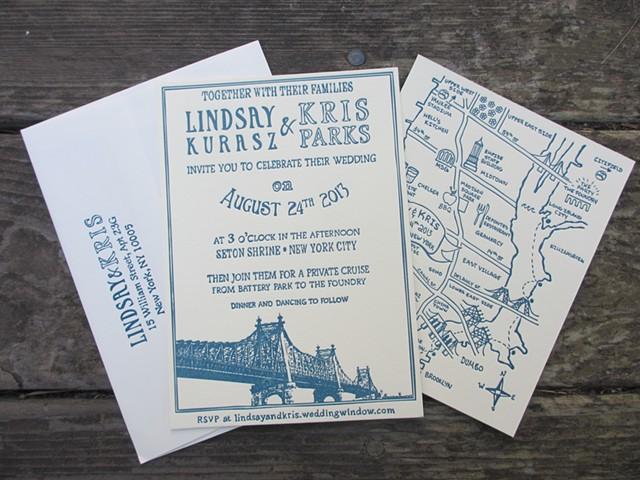Letterpress Wedding Suite - Queensboro Bridge