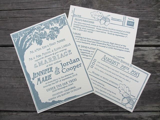 Letterpress Wedding Invitations - Oak Tree