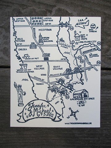 Letterpress Wedding Map - New York City