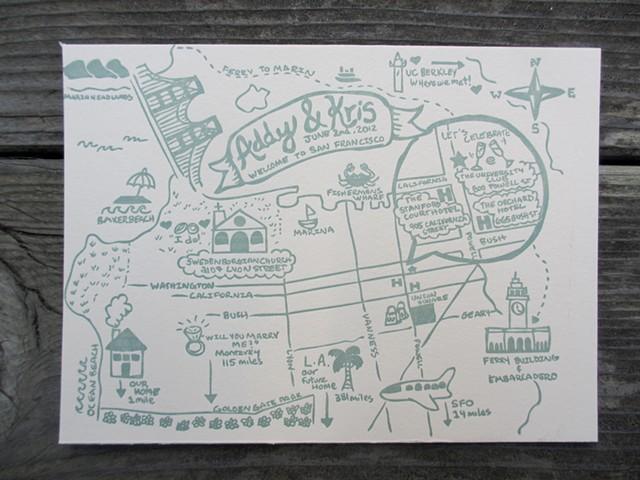 Letterpress Wedding Map - San Francisco