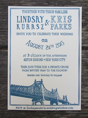 Letterpress Wedding Invitations - Queensboro Bridge