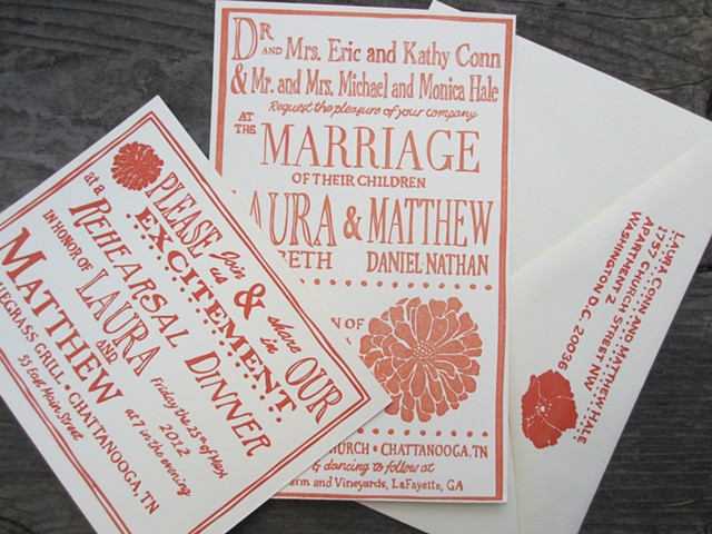 Letterpress Wedding Invitations - Country Garden