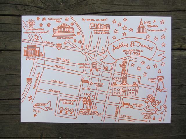 Letterpress Wedding Map - Philadelphia