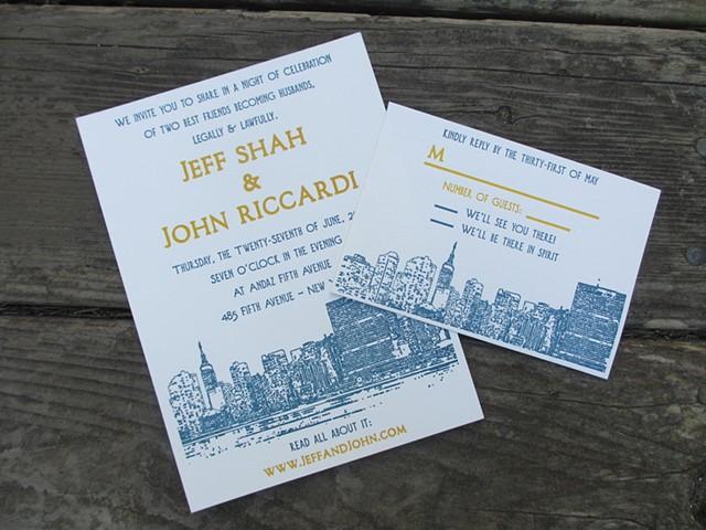 Letterpress Wedding Invitations - Manhattan Skyline