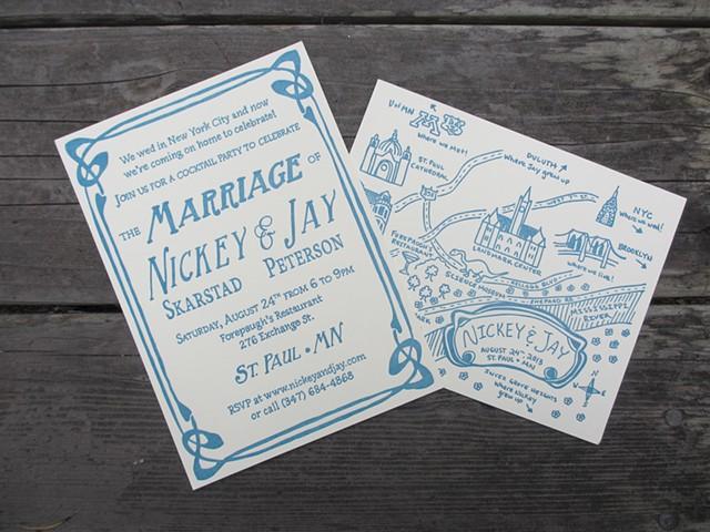 Letterpress Wedding Invitations - Art Deco