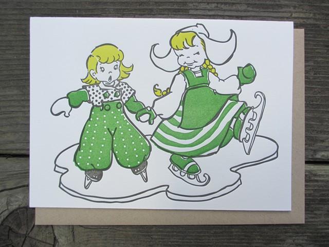 Letterpress Card - Dutch Ice Skaters (Green)