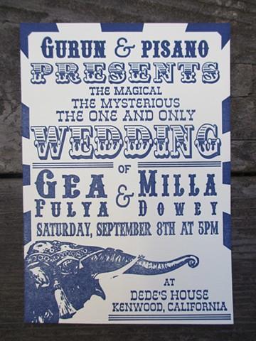 Letterpress Wedding Invitations - Circus Bill
