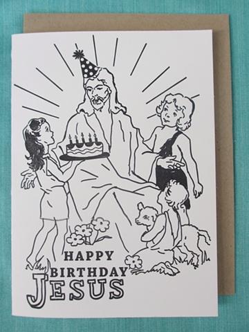 Letterpress Card - Happy Birthday Jesus