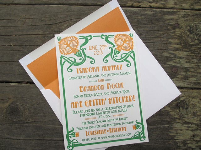 Letterpress Wedding Invitation - Art Nouveau