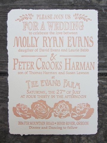 Letterpress Wedding Invitation - Country Rose