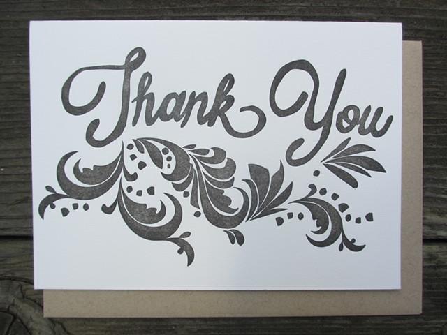 Letterpress Card - Thank You (Charcoal)
