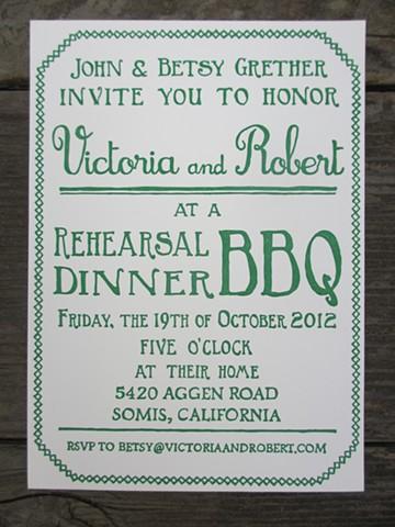 Letterpress Invitations - Backyard BBQ