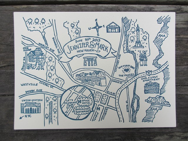Letterpress Wedding Map - Connecticut