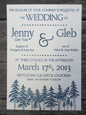 Letterpress Wedding Invitations - In the Woods
