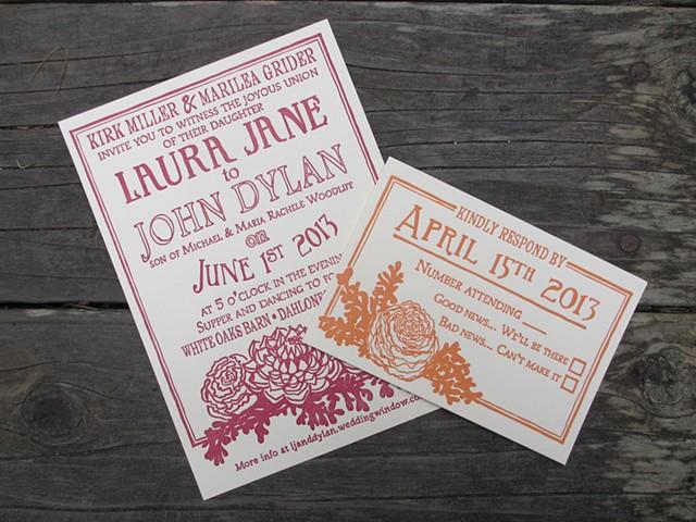 Letterpress Wedding Suite - Peonies