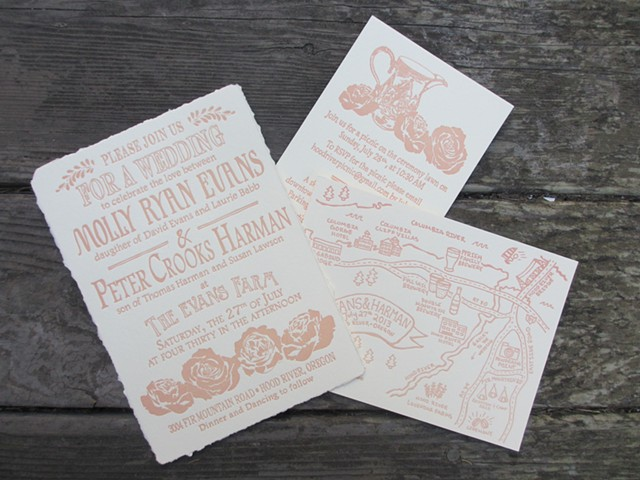 Letterpress Wedding Suite - Country Rose