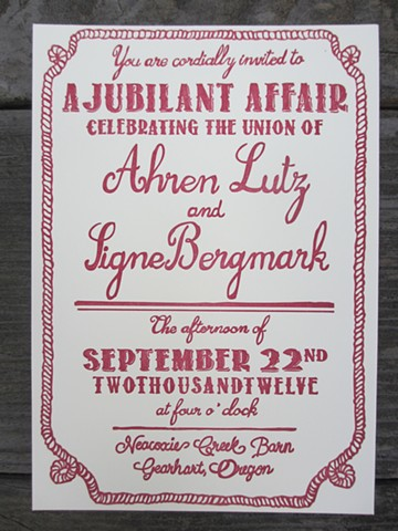 Letterpress Wedding Invitations - Barn Party
