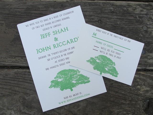 Letterpress Wedding Invitation - Atlanta