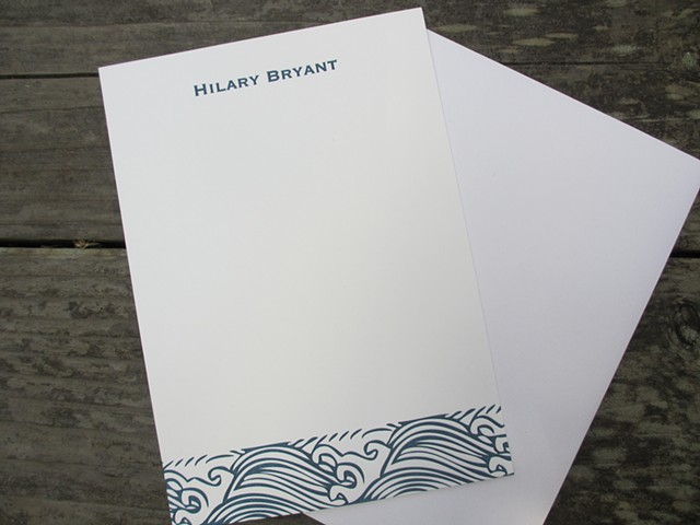 Letterpress Stationary - Ocean