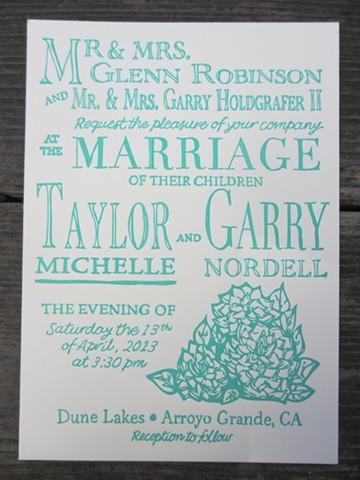 Letterpress Wedding Invitations - Country Garden