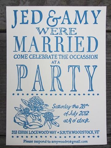 Letterpress Wedding Invitations - Robin's Egg Blue