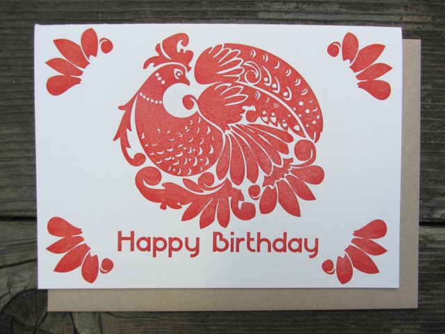 Letterpress Card - Birthday Peacock (Red)
