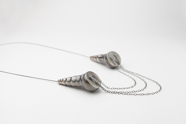 Dual Pod Necklace, sterling silver and steel by Sara Owens