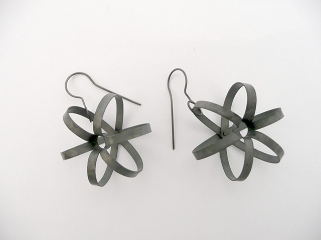 Atomic Earrings, sterling silver by Sara Owens
