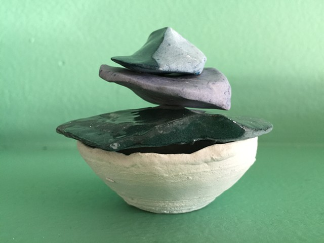 Indoor Urn for ashes unused in Skipping Stones with Infused Ashes