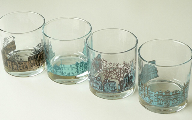 glass tumblers screen printed by hand with image of Halifax streetscapes: North Park St, Agricola St, South Park St, and Barrington St