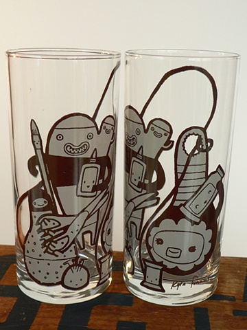 Hi ball glass screen printed with halifax crafters poster image of monsters