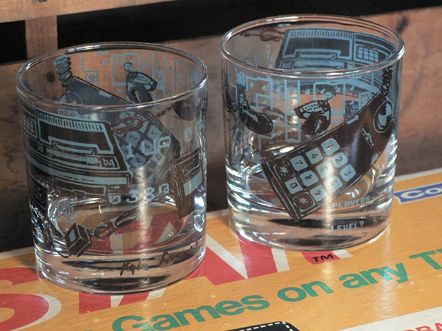 Tumbler glass screen printed with image of vintage coleco videogame console