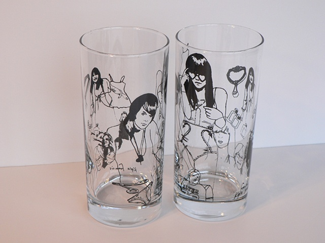 Hi ball glass screen printed with aspirational and feminist images