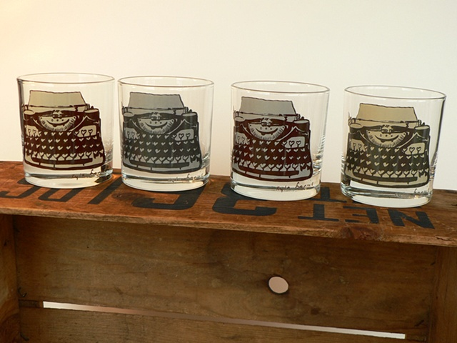 glass tumbler screen printed by hand with image of typewriter that has heart shaped keys