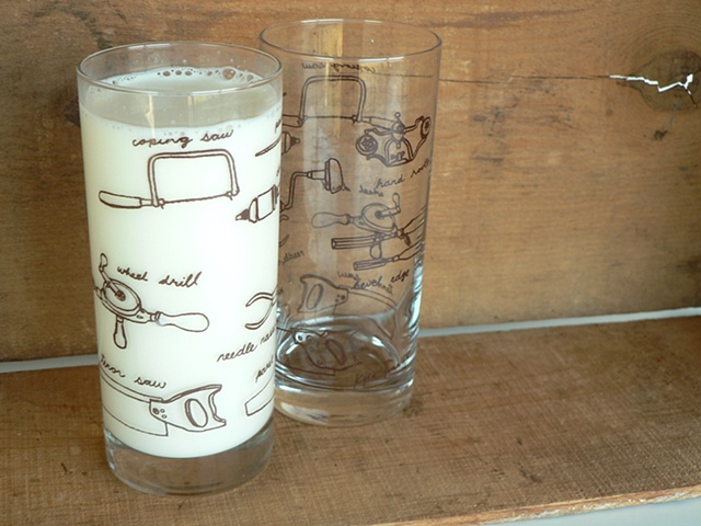 Hi ball glass screen printed with hand tools for woodworking
