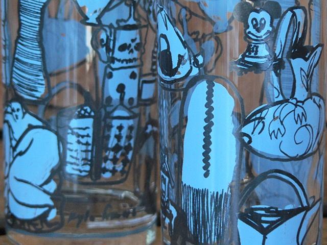 Hi ball glass screen printed with famous ceramic artists' work; Cindy Kolodziejski, Walter Ostrom, Bruce Cochrane, Jun Kaneko, Tang Dynasty, Greg Payce, Richard Notkin, Betty Woodman, Julia Galloway, Akio Takamori, Leopold Foulem