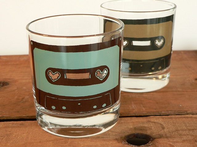 glass tumbler screen printed by hand with image of a cassette tape with heart sprockets