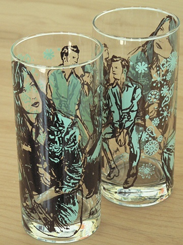 Hi ball glass screen printed with aspirational and feminist images from fashion