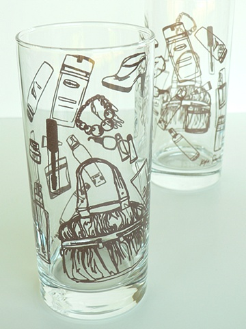 Hi ball glass screen printed with the contents of your purse