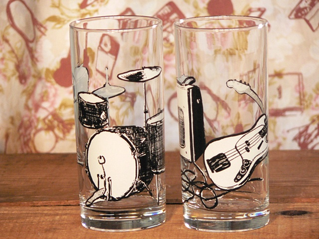 Hi ball glass screen printed with bass and drums and amplifier