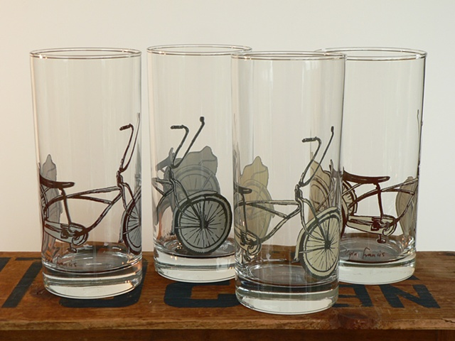 Glass with screen printed decoration of bicycle