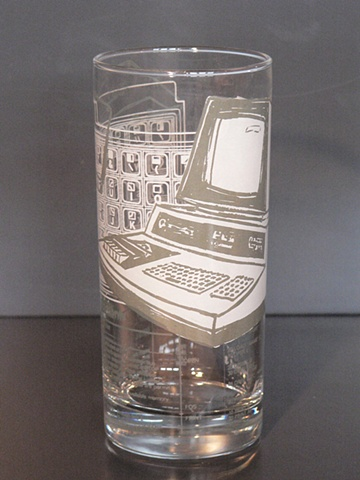 Hi ball glass screen printed with vintage Commodore PET computer and cassette