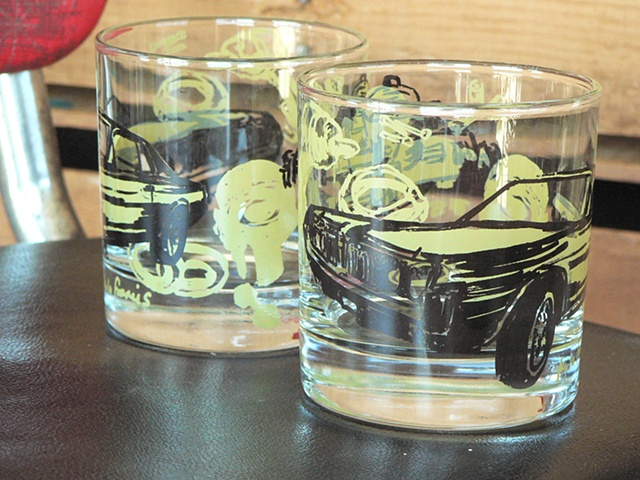 Tumbler glass screen printed with muscle car and carburetor and car parts
