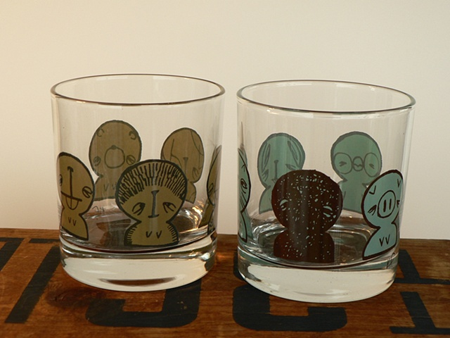 glass tumbler screen printed by hand with image of cute small pets, kakaii, dog, bird, hamster, rabbit