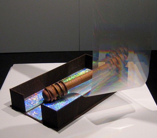 Interior Scroll, book arts, diffraction grating