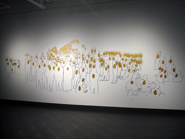 Mural, sharpie pen, gold paint