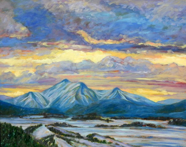 Oil painting of Rocky Mountains