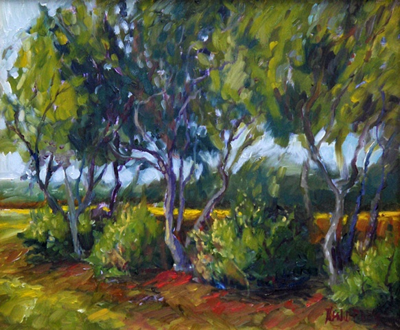 Original oil painting of blustery trees by Katie Wall Podracky
