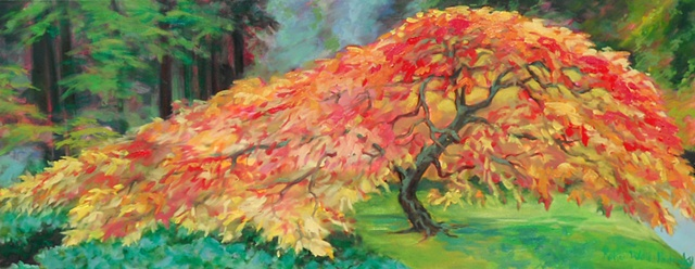 Original oil painting of red tree by Katie Wall Podracky